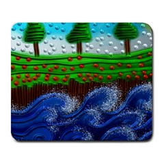 Beaded Landscape Textured Abstract Landscape With Sea Waves In The Foreground And Trees In The Background Large Mousepads