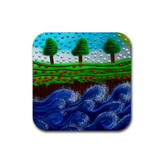 Beaded Landscape Textured Abstract Landscape With Sea Waves In The Foreground And Trees In The Background Rubber Coaster (Square)