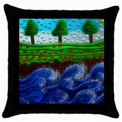Beaded Landscape Textured Abstract Landscape With Sea Waves In The Foreground And Trees In The Background Throw Pillow Case (Black)
