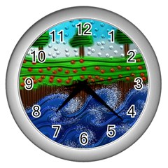 Beaded Landscape Textured Abstract Landscape With Sea Waves In The Foreground And Trees In The Background Wall Clocks (Silver)