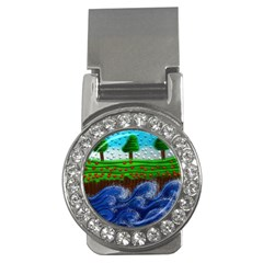 Beaded Landscape Textured Abstract Landscape With Sea Waves In The Foreground And Trees In The Background Money Clips (cz)