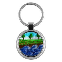 Beaded Landscape Textured Abstract Landscape With Sea Waves In The Foreground And Trees In The Background Key Chains (round)