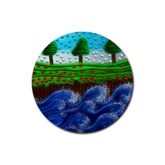 Beaded Landscape Textured Abstract Landscape With Sea Waves In The Foreground And Trees In The Background Rubber Round Coaster (4 Pack)