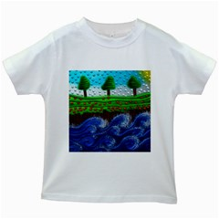 Beaded Landscape Textured Abstract Landscape With Sea Waves In The Foreground And Trees In The Background Kids White T-Shirts