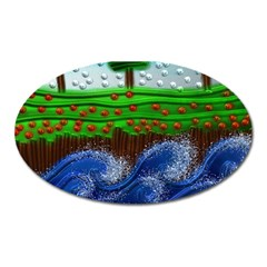 Beaded Landscape Textured Abstract Landscape With Sea Waves In The Foreground And Trees In The Background Oval Magnet