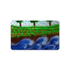 Beaded Landscape Textured Abstract Landscape With Sea Waves In The Foreground And Trees In The Background Magnet (Name Card)