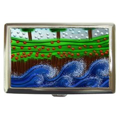 Beaded Landscape Textured Abstract Landscape With Sea Waves In The Foreground And Trees In The Background Cigarette Money Cases