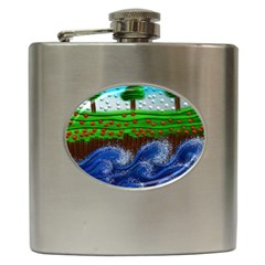 Beaded Landscape Textured Abstract Landscape With Sea Waves In The Foreground And Trees In The Background Hip Flask (6 Oz)