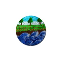 Beaded Landscape Textured Abstract Landscape With Sea Waves In The Foreground And Trees In The Background Golf Ball Marker