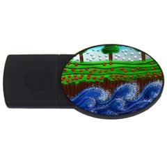 Beaded Landscape Textured Abstract Landscape With Sea Waves In The Foreground And Trees In The Background Usb Flash Drive Oval (2 Gb)