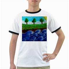 Beaded Landscape Textured Abstract Landscape With Sea Waves In The Foreground And Trees In The Background Ringer T-Shirts