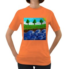 Beaded Landscape Textured Abstract Landscape With Sea Waves In The Foreground And Trees In The Background Women s Dark T Shirt
