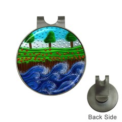 Beaded Landscape Textured Abstract Landscape With Sea Waves In The Foreground And Trees In The Background Hat Clips With Golf Markers