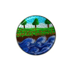 Beaded Landscape Textured Abstract Landscape With Sea Waves In The Foreground And Trees In The Background Hat Clip Ball Marker