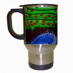 Beaded Landscape Textured Abstract Landscape With Sea Waves In The Foreground And Trees In The Background Travel Mugs (white)