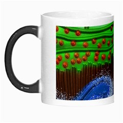 Beaded Landscape Textured Abstract Landscape With Sea Waves In The Foreground And Trees In The Background Morph Mugs
