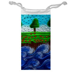 Beaded Landscape Textured Abstract Landscape With Sea Waves In The Foreground And Trees In The Background Jewelry Bag