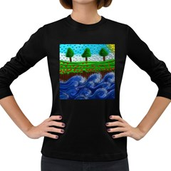 Beaded Landscape Textured Abstract Landscape With Sea Waves In The Foreground And Trees In The Background Women s Long Sleeve Dark T-Shirts