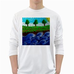 Beaded Landscape Textured Abstract Landscape With Sea Waves In The Foreground And Trees In The Background White Long Sleeve T Shirts