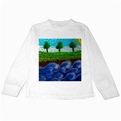 Beaded Landscape Textured Abstract Landscape With Sea Waves In The Foreground And Trees In The Background Kids Long Sleeve T Shirts