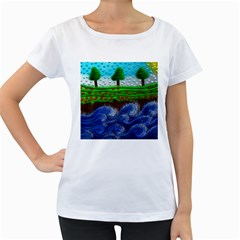Beaded Landscape Textured Abstract Landscape With Sea Waves In The Foreground And Trees In The Background Women s Loose Fit T Shirt (white)