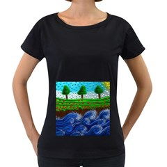 Beaded Landscape Textured Abstract Landscape With Sea Waves In The Foreground And Trees In The Background Women s Loose Fit T Shirt (black)