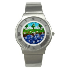 Beaded Landscape Textured Abstract Landscape With Sea Waves In The Foreground And Trees In The Background Stainless Steel Watch