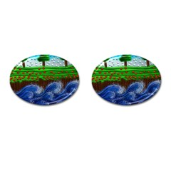 Beaded Landscape Textured Abstract Landscape With Sea Waves In The Foreground And Trees In The Background Cufflinks (oval)