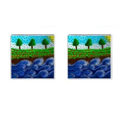 Beaded Landscape Textured Abstract Landscape With Sea Waves In The Foreground And Trees In The Background Cufflinks (Square)