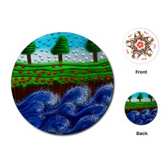 Beaded Landscape Textured Abstract Landscape With Sea Waves In The Foreground And Trees In The Background Playing Cards (round)