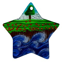 Beaded Landscape Textured Abstract Landscape With Sea Waves In The Foreground And Trees In The Background Star Ornament (two Sides)