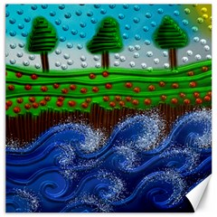 Beaded Landscape Textured Abstract Landscape With Sea Waves In The Foreground And Trees In The Background Canvas 16  x 16