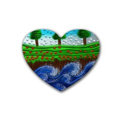 Beaded Landscape Textured Abstract Landscape With Sea Waves In The Foreground And Trees In The Background Rubber Coaster (Heart)