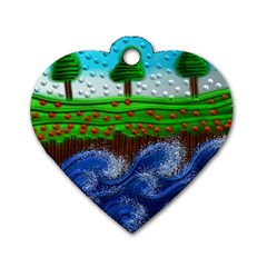 Beaded Landscape Textured Abstract Landscape With Sea Waves In The Foreground And Trees In The Background Dog Tag Heart (Two Sides)