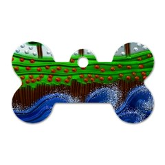Beaded Landscape Textured Abstract Landscape With Sea Waves In The Foreground And Trees In The Background Dog Tag Bone (two Sides)