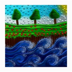 Beaded Landscape Textured Abstract Landscape With Sea Waves In The Foreground And Trees In The Background Medium Glasses Cloth (2-Side)