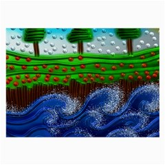 Beaded Landscape Textured Abstract Landscape With Sea Waves In The Foreground And Trees In The Background Large Glasses Cloth (2-Side)