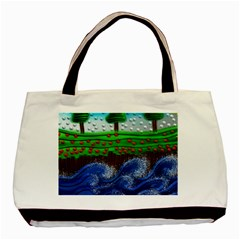 Beaded Landscape Textured Abstract Landscape With Sea Waves In The Foreground And Trees In The Background Basic Tote Bag (Two Sides)