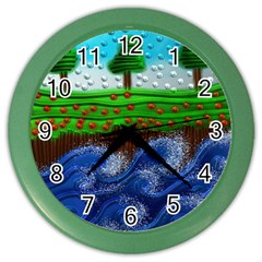 Beaded Landscape Textured Abstract Landscape With Sea Waves In The Foreground And Trees In The Background Color Wall Clocks