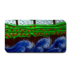 Beaded Landscape Textured Abstract Landscape With Sea Waves In The Foreground And Trees In The Background Medium Bar Mats