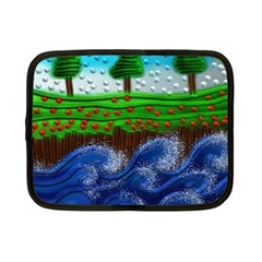 Beaded Landscape Textured Abstract Landscape With Sea Waves In The Foreground And Trees In The Background Netbook Case (Small)