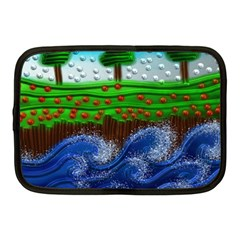 Beaded Landscape Textured Abstract Landscape With Sea Waves In The Foreground And Trees In The Background Netbook Case (medium)