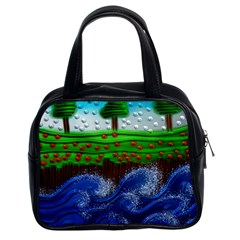 Beaded Landscape Textured Abstract Landscape With Sea Waves In The Foreground And Trees In The Background Classic Handbags (2 Sides)