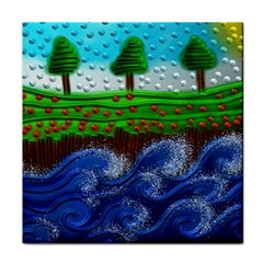 Beaded Landscape Textured Abstract Landscape With Sea Waves In The Foreground And Trees In The Background Face Towel
