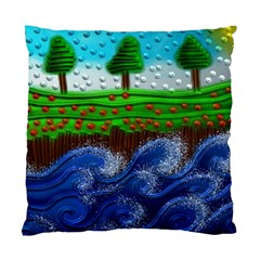 Beaded Landscape Textured Abstract Landscape With Sea Waves In The Foreground And Trees In The Background Standard Cushion Case (One Side)