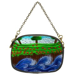 Beaded Landscape Textured Abstract Landscape With Sea Waves In The Foreground And Trees In The Background Chain Purses (two Sides)