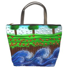 Beaded Landscape Textured Abstract Landscape With Sea Waves In The Foreground And Trees In The Background Bucket Bags