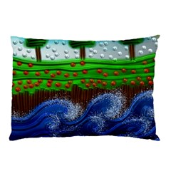 Beaded Landscape Textured Abstract Landscape With Sea Waves In The Foreground And Trees In The Background Pillow Case