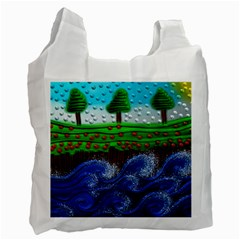 Beaded Landscape Textured Abstract Landscape With Sea Waves In The Foreground And Trees In The Background Recycle Bag (Two Side)