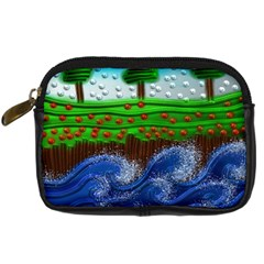 Beaded Landscape Textured Abstract Landscape With Sea Waves In The Foreground And Trees In The Background Digital Camera Cases